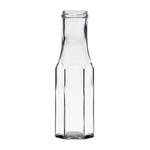 Image de Bouteille sauce en verre hexagonale  250ml TO43 transparent